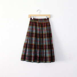 vintage 50s plaid skirt / box pleated wool skirt