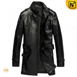 CWMALLS - Trench Men Leather Coat with Belt CW840675