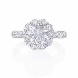 Firenze Jewels - Diamond 18k White Gold Engagement Ring Setting  - ダイヤモンドの婚約指輪
