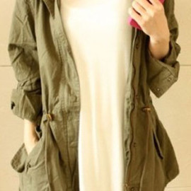 European Style Retro Leisure Sash Hooded Navy Green Coat