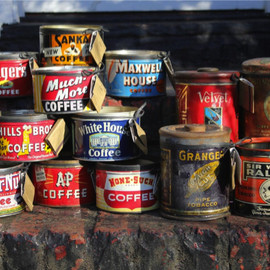 Waverly and Irving - Candle / The Tin Line :Assorted vintage and antique tin cans