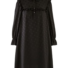 CELINE - Short dress with jacquard silk frills signed Triomphe