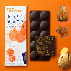 Antidote chocolate - ginger + goldenberry   77%RAW cacao + roasted