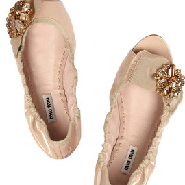 miu miu - Embellished patent-leather ballet flats