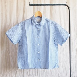 YAECA - Comfort Shirt Square S/S #blue stripe