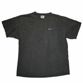 VINTAGE - Vintage 90s Gray Nike Shirt with White Embroidered Swoosh Made in USA Mens Size XL