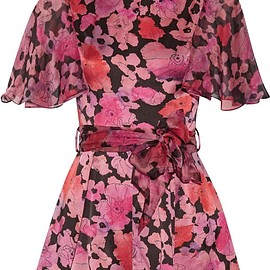 Agent Provocateur - June printed silk chiffon-trimmed stretch-silk playsuit