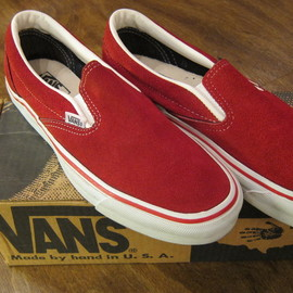 VANS - 90's SLIP-ON (Dead Stock)  RED SUEDE  Made in USA
