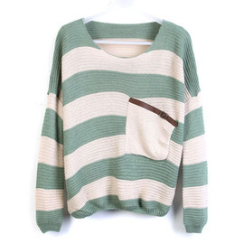 Leisure Mixing Color Batwing Sleeve Stripe Knit Sweater