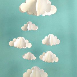 goshandgolly - Clouds Hanging Baby Mobile/3D Paper Mobile