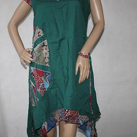 dress - Dark green dress, Summer Cotton dress, Asymmetric dress