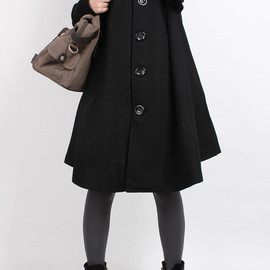 etsy - Knitted sleeve wool cape coat (4 color)