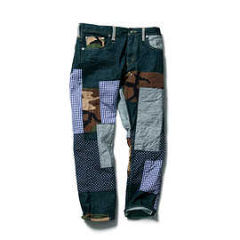 SOPHNET. - SLIM-FIT ANKLE CUT REPAIR JEANS (FABRIC MIX)