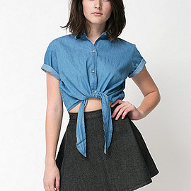 American Apparel - Denim Mid-Length Tie-Up Blouse
