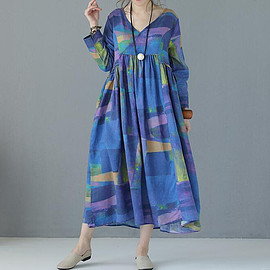 Casual linen dress - women blue long Dresses pink Summer Casual linen dress