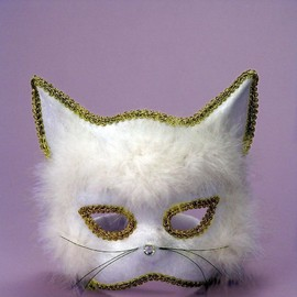 White Cat Mask ~Mardi Gras