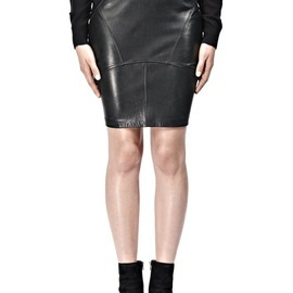 ALEXANDER WANG - LIGHTWEIGHT LEATHER BACK FLUTTER SKIRT
