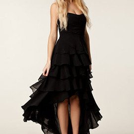 Irregular Sexy Strapless Layers Skirt Evening Party Black Long Dress