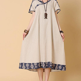 summer loose dress - Linen color/ dark blue summer loose dress women loose fitting long Clothing