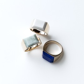 simmon - Gemstone Signet Ring 10K gold