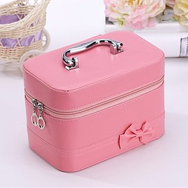 Sweet Women's Cosmetic Bag With Solid Color and Bowknot Design