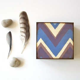 Luulla - Zig Zag Chevron Blue Grey White 5x5 art block on wood modern graphic pattern angles arrows geometric red tile studio