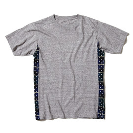 SOPHNET. - FABRIC MIX TEE (DOT FLANNEL CHECK)