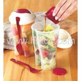 Salad Container with Compartment & Fork  (Hong Kong)