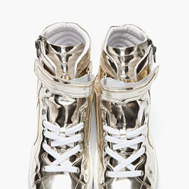 PIERRE HARDY - PIERRE HARDY Metaliic Silver Patent Leather 112 Sneakers
