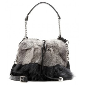 JIMMY CHOO - Evie fur and leather drawstring bag