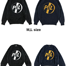 "MEDICOM TOY - KNIT GANG COUNCIL ""PIL"" CREW NECK SWEATER ""LOGO"" BLACK/NAVY"