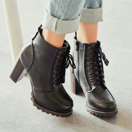 Retro Pure Color Lace-up High-heeled Booties
