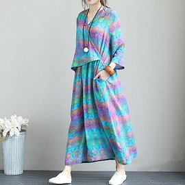 Women's Loose bat sleeves dress, oversized dress for Women, Cotton dress long
