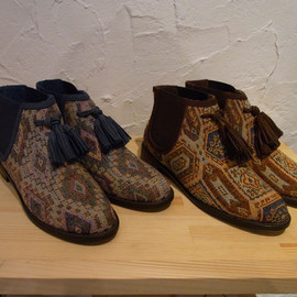 F-TROUPE - Jacquard side gore boots-Blue & Brown