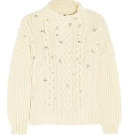 miu miu - Miu Miu Crystal-embroidered cable-knit sweater 1