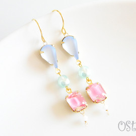 Ostara - Pale Glass Dangle Earrings-B-