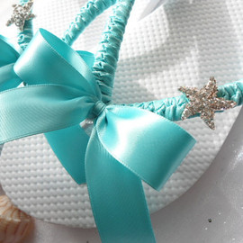 Blue wedding shoes, Tiffany blue flip flops, decorated flip flops, bling flip flops - bridal shoes, wedding flip flops - 2013 VIP Collection