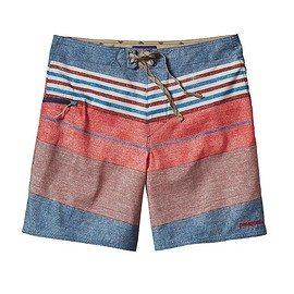 """patagonia - Men's Printed Stretch Planing Board Shorts 18"""" - Textured Fitz Stripe: Drumfire Red"""