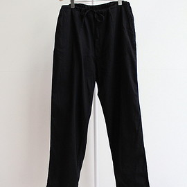 COMOLI - DUNGAREE DRAWSTRING PANTS - BLACK