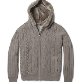 Loro Piana - Beaver Fur-Lined Hood Baby Cashmere Cardigan