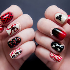 Unknown - Red mix and match nails