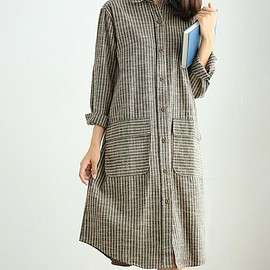Striped Loose Fitting dress - Shirt dress, Loose gray Long Dresses, light coffee color Striped Long sleeve dress