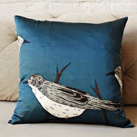 west elm - Gemma Orkin Blue Birds Silk Pillow Cover