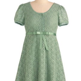 Dreams of You Dress in Sage - Short, Green, Solid, Bows, Buttons, Lace, Empire, Casual, Mini, Short Sleeves, 90s