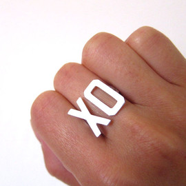 smilingsilversmith - XO Ring, Hugs & Kisses - Custom 2 letter (initial) silver ring