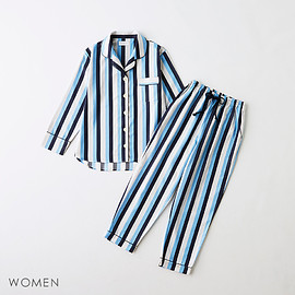 GOOD NIGHT SUIT - Women's Long Wide Blue Stripe Pajama