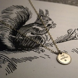 Rust - gold disk necklace.... {メッセージタグのネックレス}