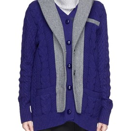 sacai - PEAK LAPEL CABLE KNIT WOOL CARDIGAN