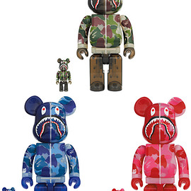 MEDICOM TOY - BE@RBRICK CLEAR ABC CAMO SHARK 100% & 400%