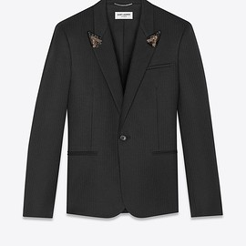 SAINT LAURENT - Tailored embroidered jacket with collar in sablé with stripes